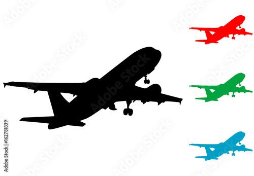 Poster Icono plano silueta avion despegando varios colores