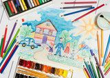 Fototapety Hand drawn Bright Colorful Childrens Sketch With Happy Family,House, Dog,Car on the Lawn with Flowers with lying flat pencils,paints and pastel - concept of children creativity,close up top flat view