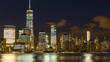 Time Lapse New York City Manhattan Skyline at Dusk seen from Jersey City