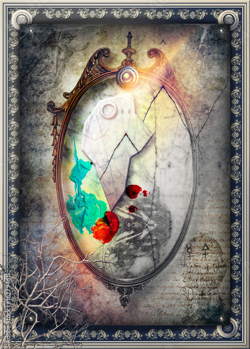 Papiers peints Imagination Magic and bewitched mirror in the dark and framed scenery
