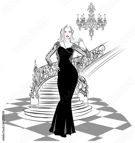 Tuinposter Art Studio beautiful woman in evening dress