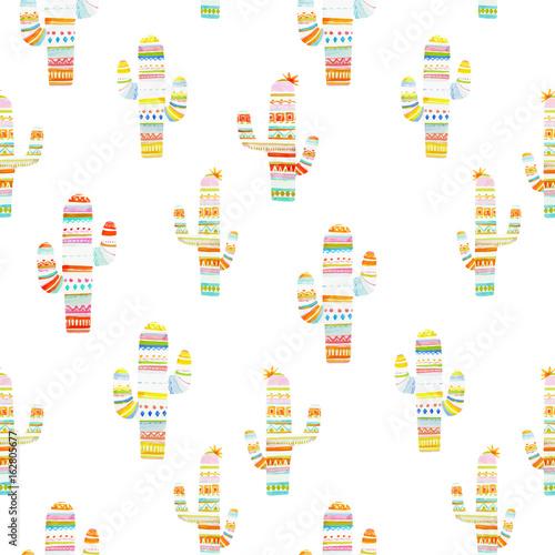 Watercolor cactus vector pattern - 162805677