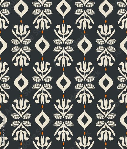 seamless vintage pattern with floral elements - 162809653