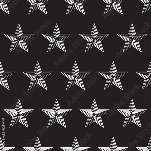 vector seamless pattern with white stars against black - 162810447