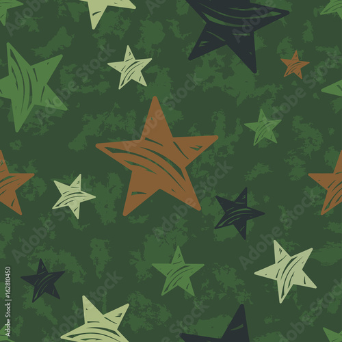 vector seamless grunge military pattern with stars - 162810450