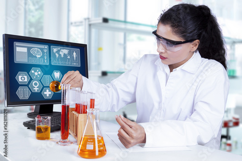 Young scientist doing medical research