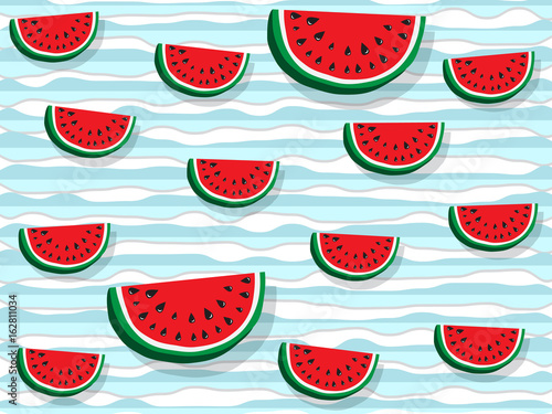 Juicy slices of red watermelon on a background of horizontal wavy strips of blue color, as sea waves. Concept of Hello Summer. Fruit abstract background, vector illustration - 162811034