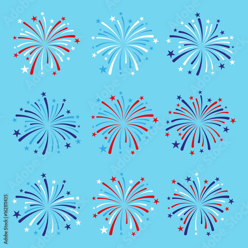 vector set of nine fireworks in blue, red and white colors - 162811435