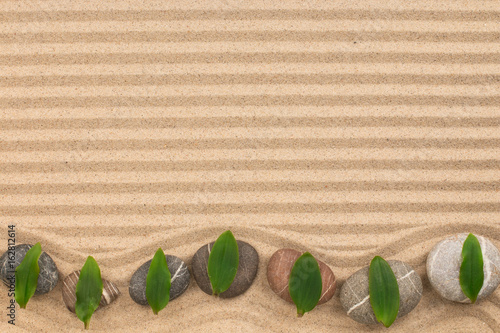 Poster Stenen in het Zand Frame of stones with green leaves zigzag on wavy sand.