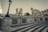 Old photo in vintage style with Spanish Steps from Piazza di Spagna in Rome, Italy - 162814828