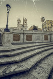 Old photo in vintage style with Spanish Steps from Piazza di Spagna in Rome, Italy