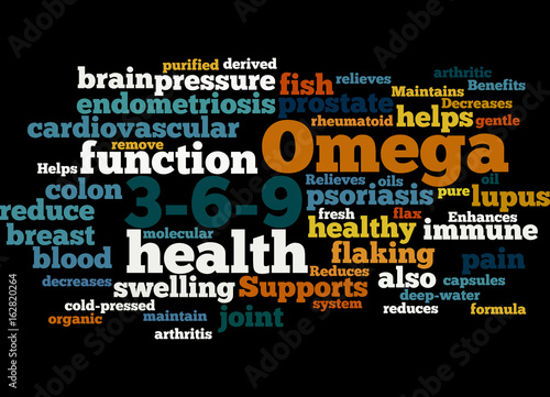 Fish oil omega word cloud concept