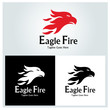 Eagle fire logo design template. Vector illustration