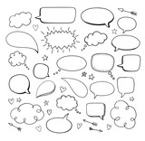 Comic hand drawn blank speech bubbles. Vector doodle blank design elements.