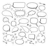 Comic hand drawn blank speech bubbles. Vector doodle blank design elements.