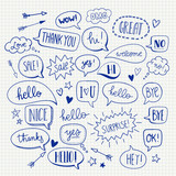 A set of cute cartoon speech bubbles with hi, hello, love and many more in hand drawn style. Vector doodle design elements.
