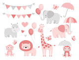 Cute Jungle Animals Set for Baby Showers and Birthdays - 162827059