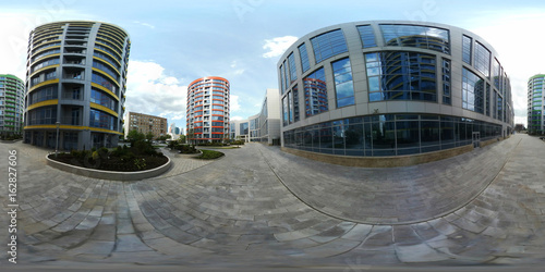 Poster 360 panorama vr image of modern city quarter