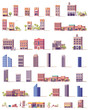Vector low poly buildings set - 162829670