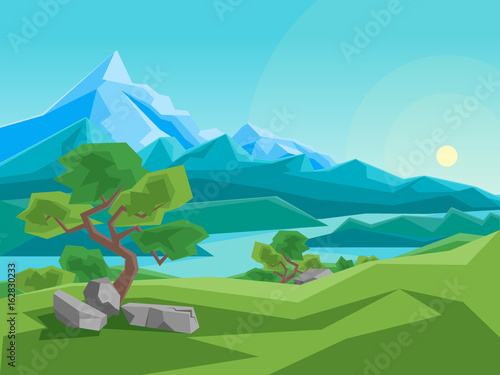 Fotobehang Turkoois Cartoon Summer Mountain and River on a Landscape Background. Vector