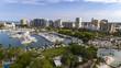 Drone view of bayfront park, Marina Jack and the downtown Sarasota Florida area.