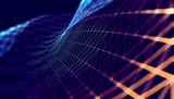 Fondo abstracto de tecnologia y ciencia.Malla o red con lineas y formas geometricas. - 162834039