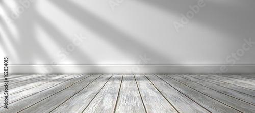 Fondo de arquitectura.Interior de casa.Habitación vacia con suelo de madera y pared blanca.Luz del sol entrando por la ventana. - 162834015