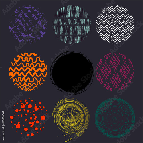 Aluminium Abstract met Penseelstreken abstract background pattern, with circles, strokes and splashes