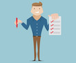 businessman with checklist cartoon