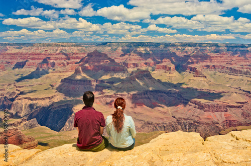 Poster Landschappen Hikers in Grand Canyon National Park. USA