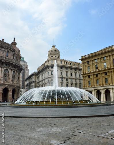 """Plagát The fountain in the middle of """"Piazza De Ferrari"""", the main square of Genoa, Ita"""