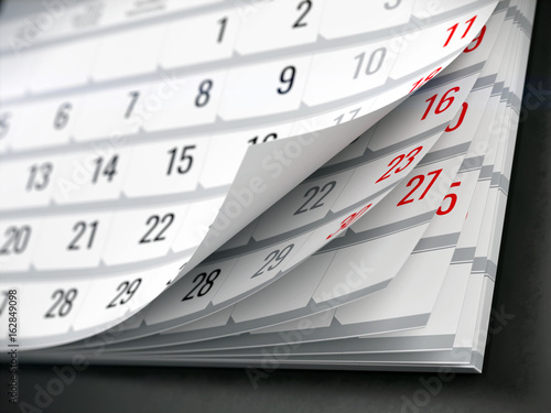 Concept of calendar, reminder, organizing - 3d illustration of calendar