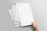 Blank A4 photorealistic brochure mockup on light grey background.  - 162857017