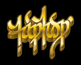 Hip-Hop in golden graffiti style. Vector text.
