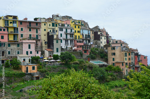 Amazing view of the town of Corniglia in the Cinque Terre, Italy