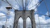 Architecture and engineering. The unique design of the Brooklyn bridge in New York. Dolly shot - 162863088