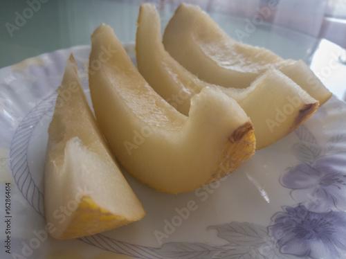 Melon sliced on a plate
