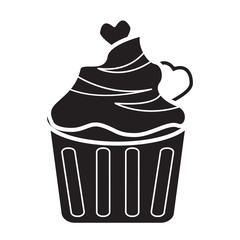 cup cake icon flat black