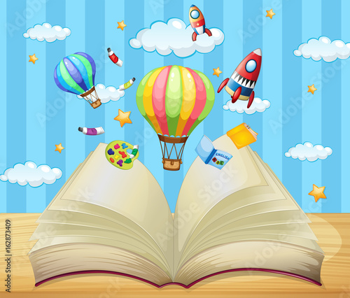 Papiers peints Jeunes enfants Balloons and rockets flying out of book