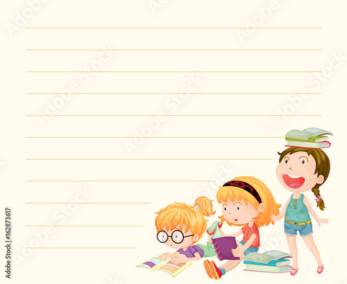 Line paper template with girls reading books