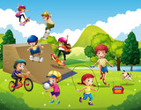 Kids playing different sports in park - 162873865