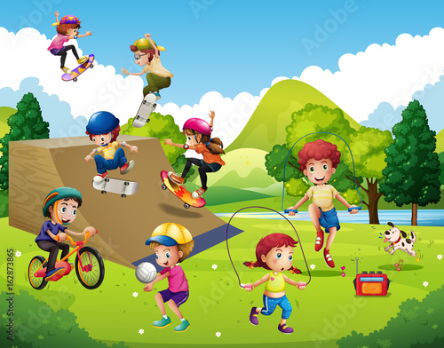 Foto op Canvas Lime groen Kids playing different sports in park