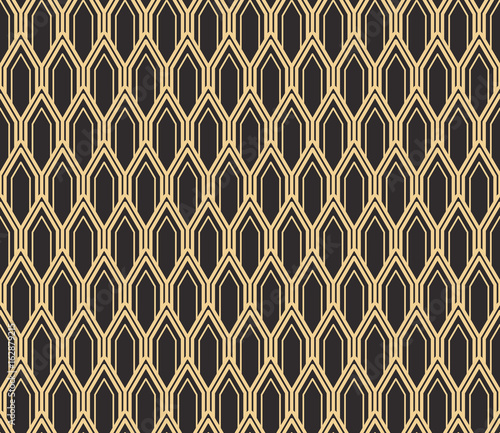 mata magnetyczna Seamless antique palette black and gold art deco vintage rounded pillars pattern vector
