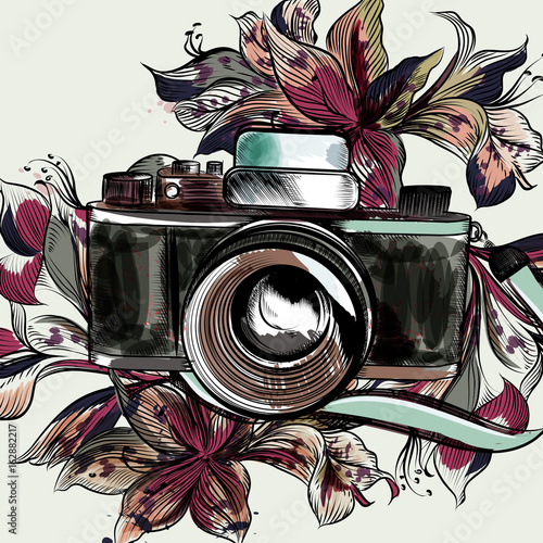 Cute illustration with hipster camera and flowers