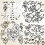 Huge set of vector flourishes, swirls and hand drawn flowers - 162885486