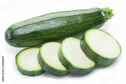 Zucchini on a white background.