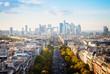 skyline of Paris city towards La Defense district, France, retro toned