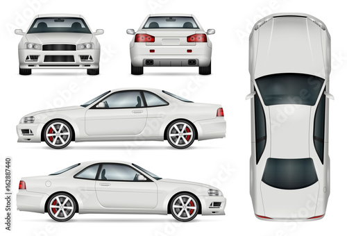 Sports car vector template for car branding and advertising. Isolated coupe car set on white. All layers and groups well organized for easy editing and recolor. View from side, front, back, top.