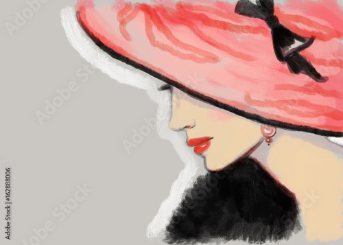 Wall mural Elegant lady with hat. fashion illustration