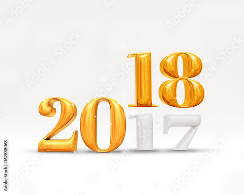 2017 year change to 2018 new year golden number (3d rendering) on white studio room,Holiday card.